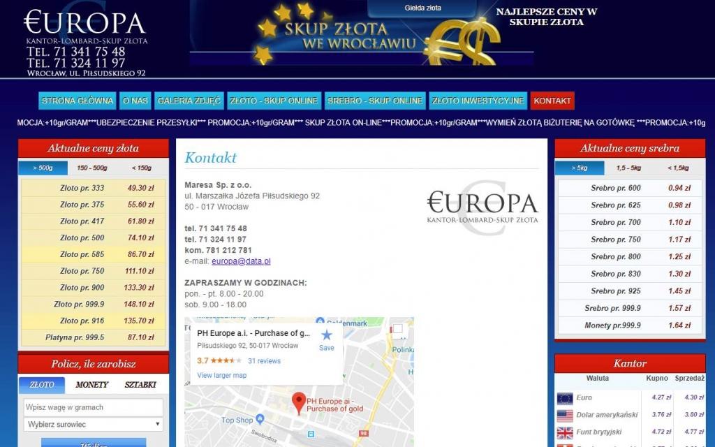 Skup złota Kantor Europa